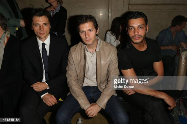 Raphael Personnaz Hugo Becker and Adel Bencherif attend the Cerruti show as part of the Paris Fashion Week Menswear Spring/Summer 2015 on June 27...