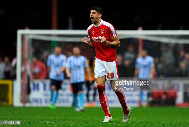 Raphael Rossi Branco of Swindon Town celebrates after a last minute penalty equaliser scored by Nicky Ajose of Swindon Town during the Sky Bet League...