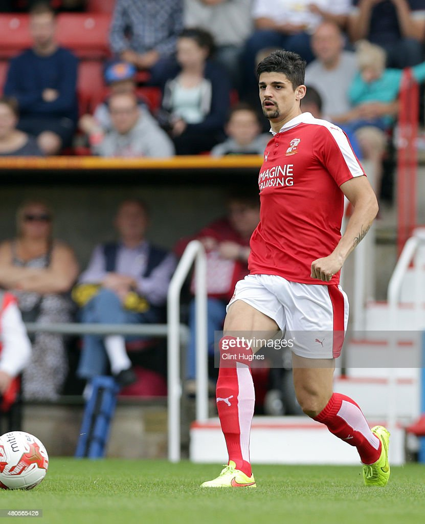 Raphael Rossi Branco of Swindon Town in action during the Pre Season Friendly match between Swindon Town and Everton at the County Ground on July 11...