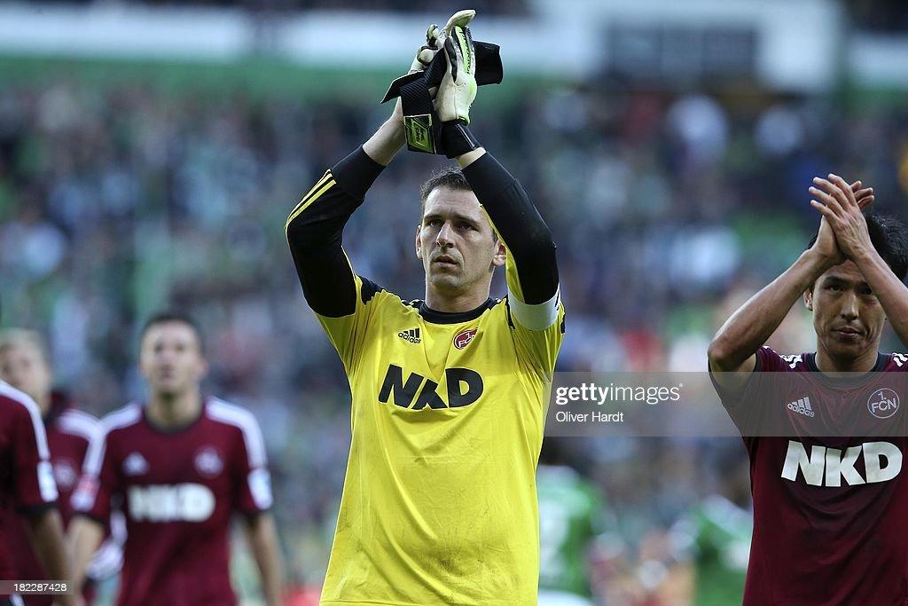 Raphael Schaefer of Nuernberg applauds the fans after the First Bundesliga match between SV Werder Bremen and 1.FC Nuernberg at Weserstadion on September 29, 2013 in Bremen, Germany.