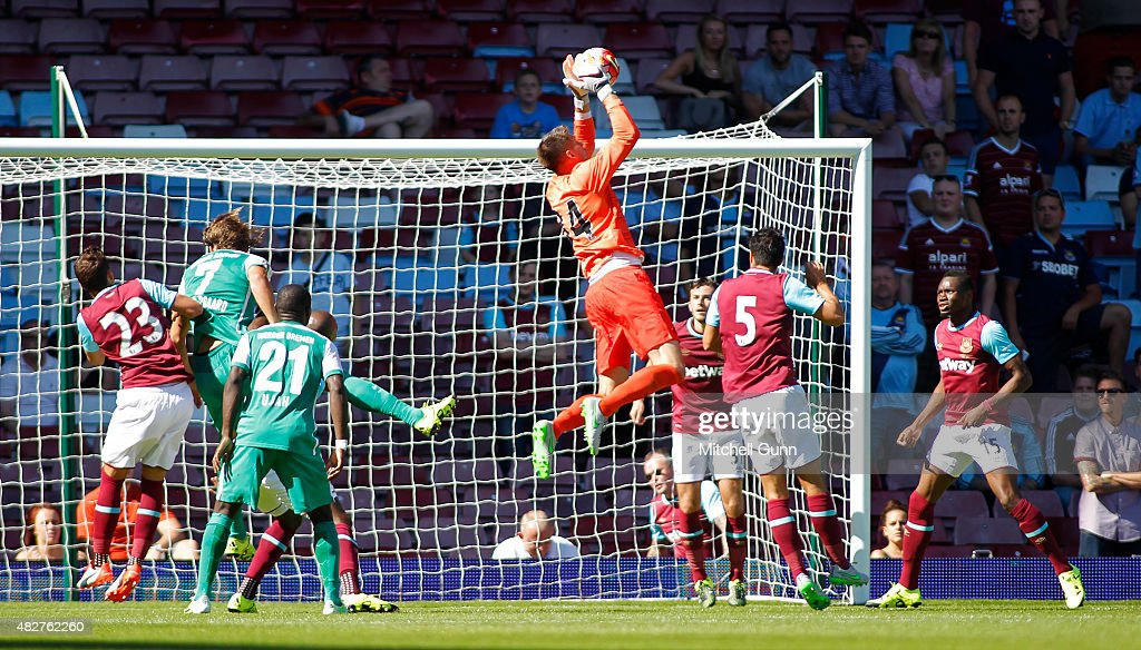 Raphael Spiegel of West Ham makes a save during the Betway Cup match between West Ham United and Werder Bremen at Boleyn Ground on August 2, 2015 in London, England.