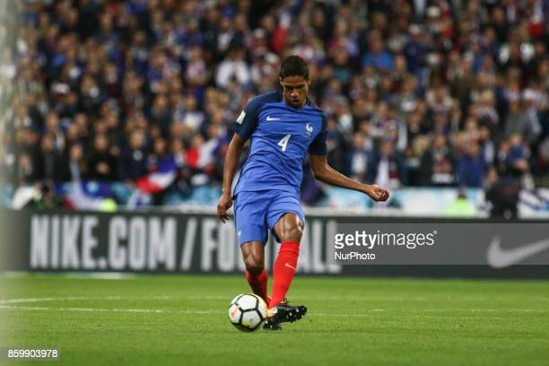 Raphael Varane 4 during the Fifa 2018 World Cup qualifying match between France and Belarus on October 10 2017 in Paris France