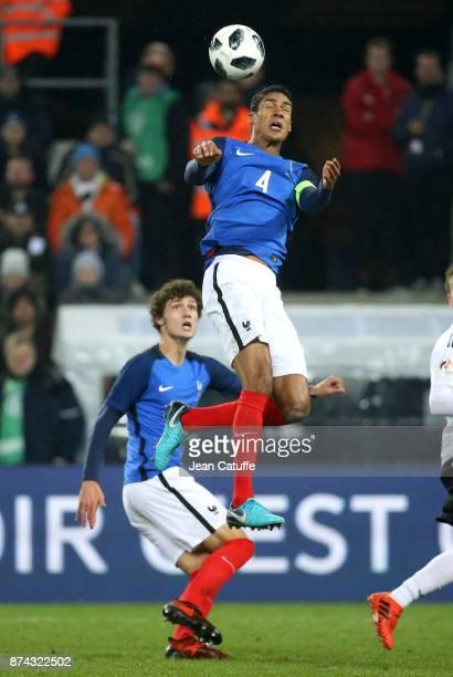 Raphael Varane and Benjamin Pavard of France during the international friendly match between Germany and France at RheinEnergieStadion on November 14...