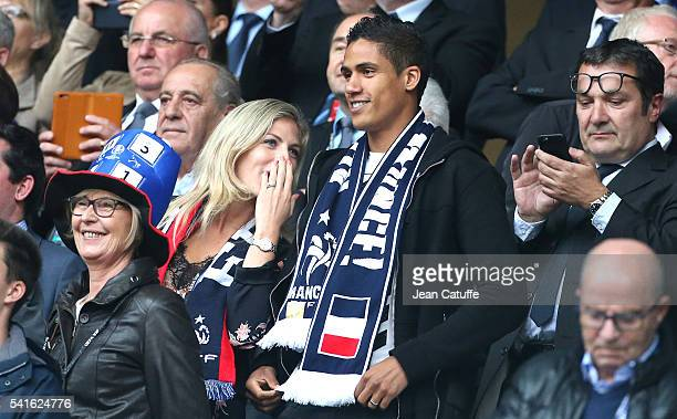 Raphael Varane and his wife Camille Tytgat attend the UEFA EURO 2016 Group A match between Switzerland and France at Stade PierreMauroy on June 19...