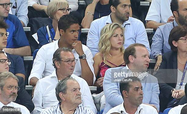 Raphael Varane and his wife Camille Tytgat attend the UEFA Euro 2016 final between Portugal and France at Stade de France on July 10 2016 in...