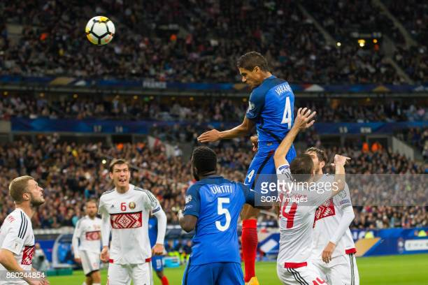 Raphael Varane in action during the World Cup Group A qualifying soccer match between France and Belarus at Stade de France