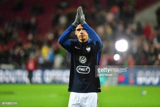 Raphael Varane of France acknowledges the crowd before the international friendly match between Germany and France at RheinEnergieStadion on November...
