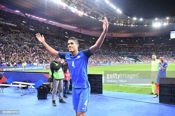 Raphael Varane of France celebrates after the Fifa 2018 World Cup qualifying match between France and Belarus on October 10 2017 in Paris France