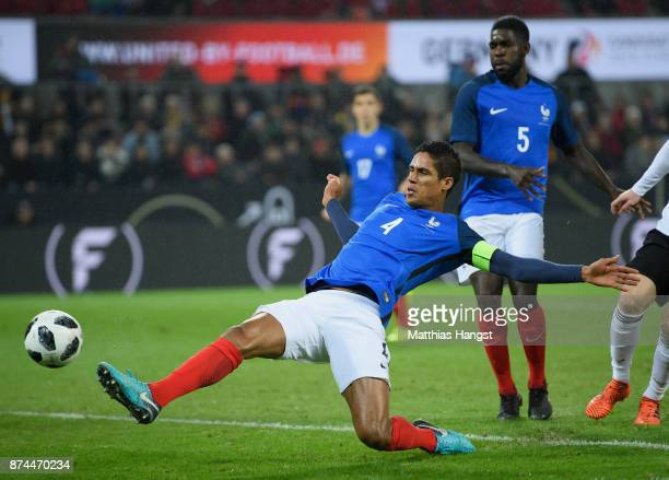 Raphael Varane of France controls the ball during the International friendly match between Germany and France at RheinEnergieStadion on November 14...