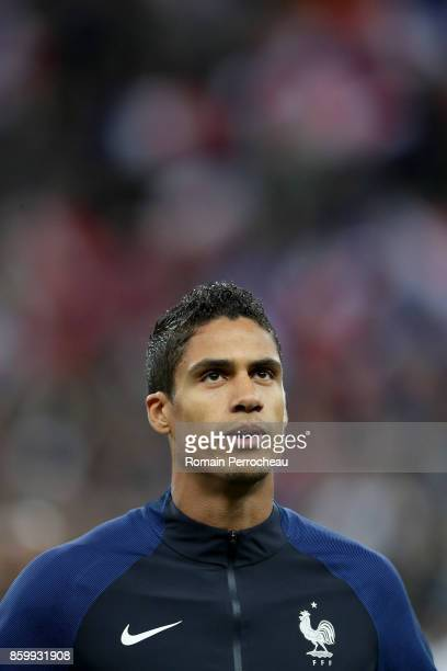 Raphael Varane of France during the National anthem before the FIFA 2018 World Cup Qualifier between France and Belarus at Stade de France on October...