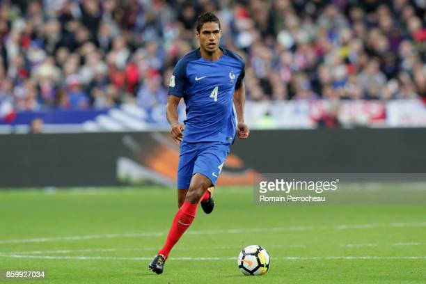 Raphael Varane of France in action during the FIFA 2018 World Cup Qualifier between France and Belarus at Stade de France on October 10 2017 in Paris