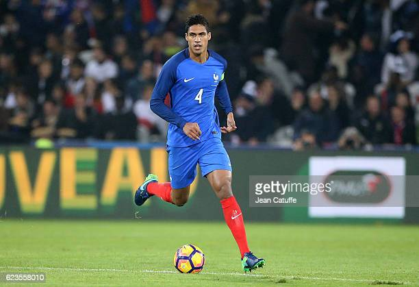 Raphael Varane of France in action during the international friendly match between France and Ivory Coast at Stade Felix Bollaert Delelis on November...