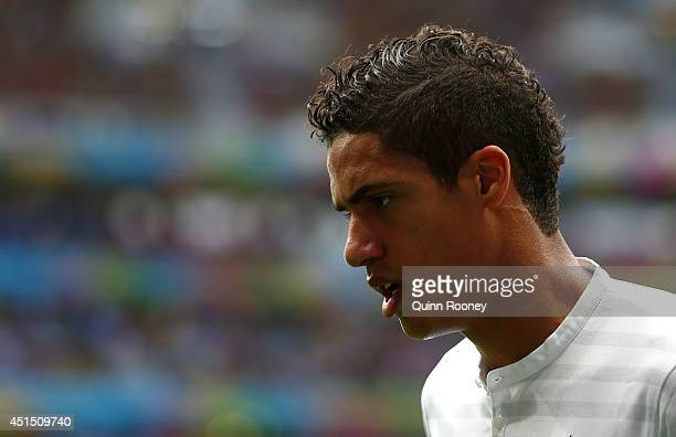 Raphael Varane of France looks on during the 2014 FIFA World Cup Brazil Round of 16 match between France and Nigeria at Estadio Nacional on June 30...