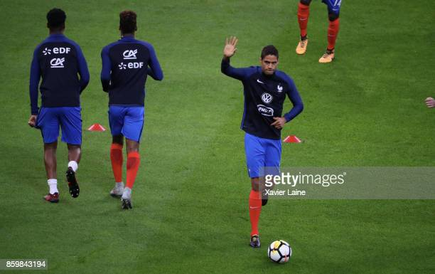 Raphael Varane of France reacts before the FIFA 2018 World Cup Qualifier between France and Netherlands at Stade de France on October 10 2017 in Paris