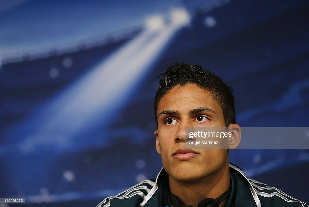 <a gi-track='captionPersonalityLinkClicked' href=/galleries/search?phrase=Raphael+Varane&family=editorial&specificpeople=7365948 ng-click='$event.stopPropagation()'>Raphael Varane</a> of Real Madrid attends a press conference ahead of their UEFA Champions League quarter-final first leg match against Galatasaray AS at the Valdebebas training ground on April 2, 2013 in Madrid, Spain.