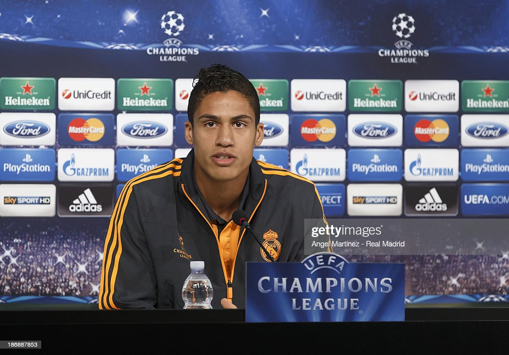 <a gi-track='captionPersonalityLinkClicked' href=/galleries/search?phrase=Raphael+Varane&family=editorial&specificpeople=7365948 ng-click='$event.stopPropagation()'>Raphael Varane</a> of Real Madrid attends a press conference ahead of their UEFA Champions League Group B match against Juventus at Juventus Arena on November 4, 2013 in Turin, Italy.