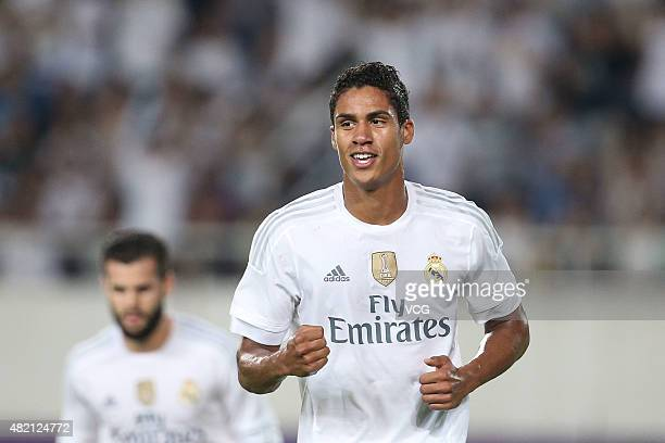 Raphael Varane of Real Madrid celebrates after scoring his team's second goal during the International Champions Cup football match between Inter...