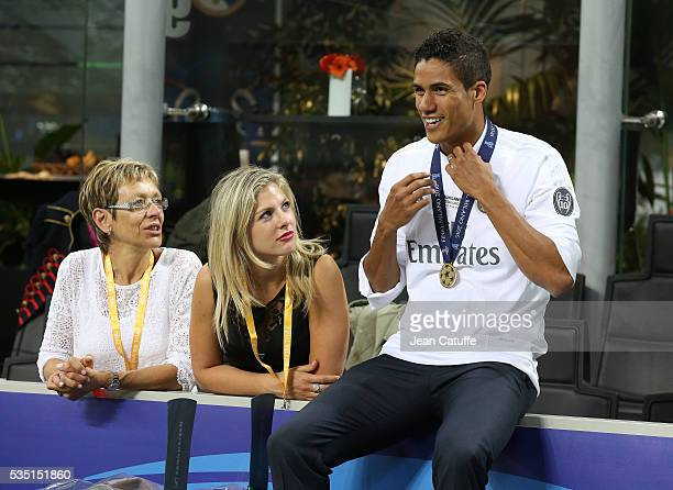 Raphael Varane of Real Madrid celebrates with his wife Camille Tytgat winning the UEFA Champions League final between Real Madrid and Club Atletico...
