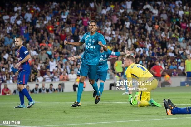 Raphael Varane of Real Madrid celebrating celebrating the opening goal of Real Madrid during the Supercopa de Espana Final 1st Leg match between FC...