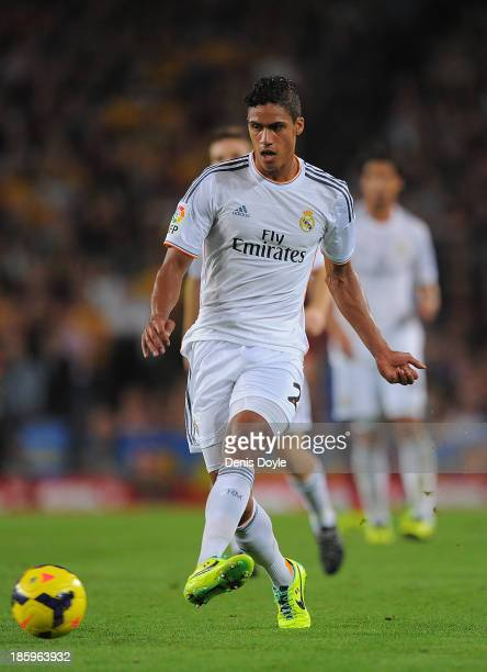 Raphael Varane of Real Madrid CF in action during the La Liga match between FC Barcelona and Real Madrid CF at Camp Nou stadium on October 26 2013 in...