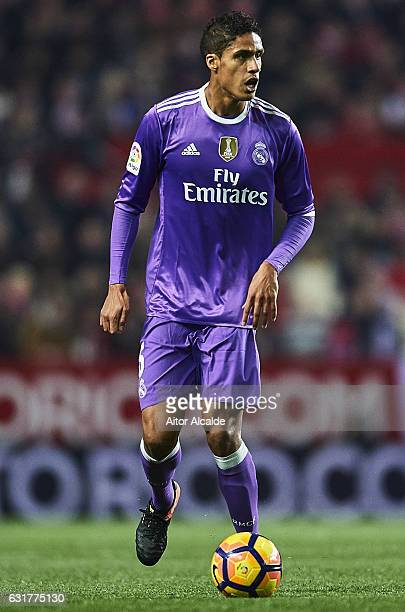 Raphael Varane of Real Madrid CF in action during the La Liga match between Sevilla FC and Real Madrid CF at Estadio Ramon Sanchez Pizjuan on January...