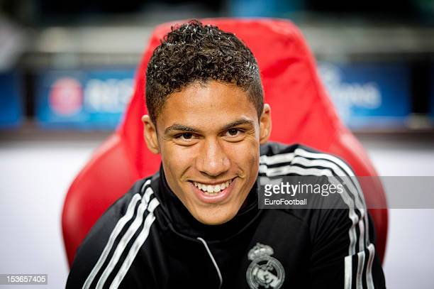 Raphael Varane of Real Madrid CF looks on during the UEFA Champions League group stage match between AFC Ajax and Real Madrid CF at the Amsterdam...
