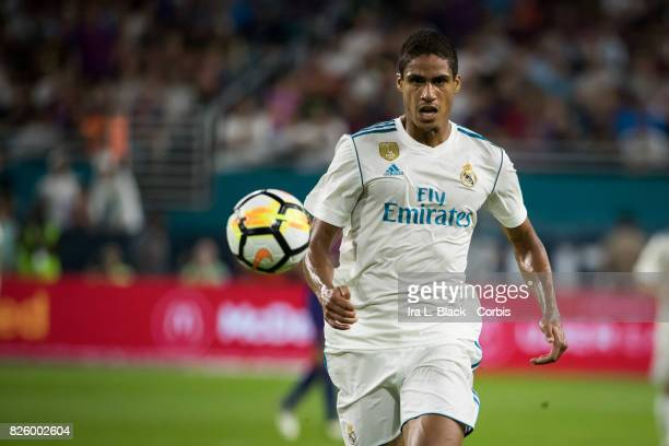 Raphael Varane of Real Madrid chases down a ball during the International Champions Cup El Clásico match between FC Barcelona and Real Madrid at the...