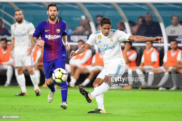 Raphael Varane of Real Madrid during the International Champions Cup match between Barcelona and Real Madrid at Hard Rock Stadium on July 29 2017 in...