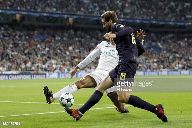 Raphael Varane of Real Madrid Fernando Llorente of Tottenham Hotspur FC during the UEFA Champions League group H match between Real Madrid and...