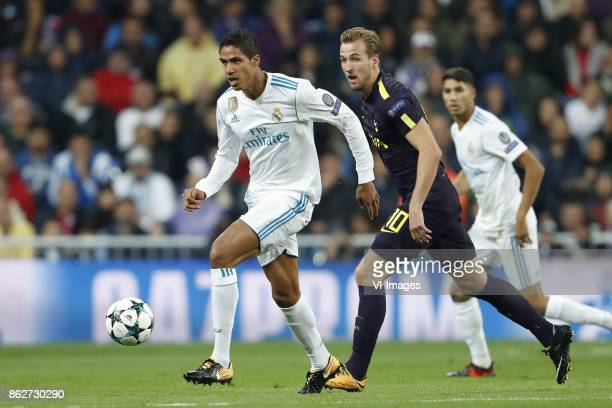 Raphael Varane of Real Madrid Harry Kane of Tottenham Hotspur FC Marco Asensio of Real Madrid during the UEFA Champions League group H match between...