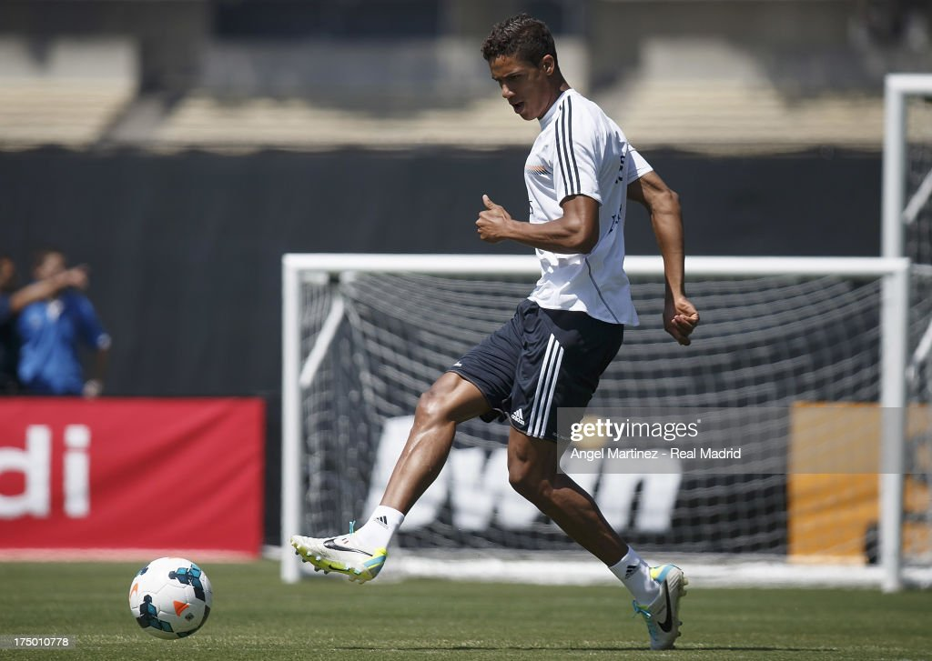 <a gi-track='captionPersonalityLinkClicked' href=/galleries/search?phrase=Raphael+Varane&family=editorial&specificpeople=7365948 ng-click='$event.stopPropagation()'>Raphael Varane</a> of Real Madrid in action during a training session at UCLA Campus on July 29, 2013 in Los Angeles, California.