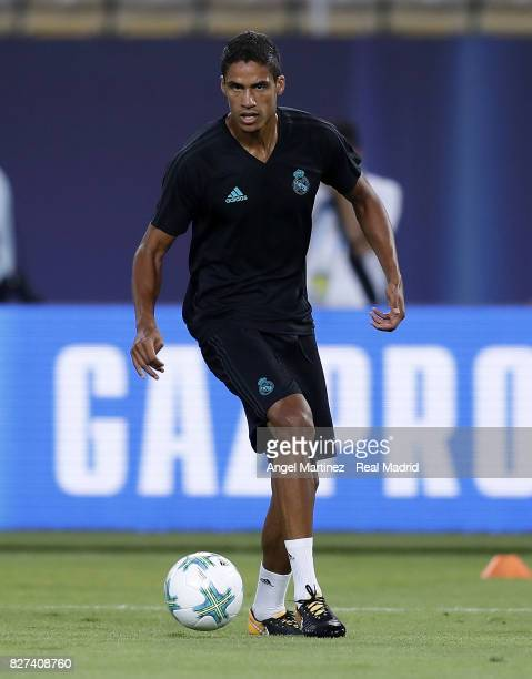 Raphael Varane of Real Madrid in action during a training session at Philip II Arena on August 7 2017 in Skopje Macedonia
