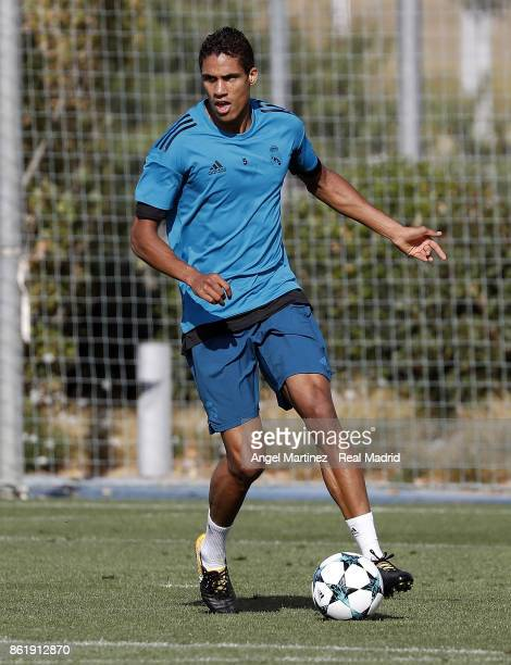 Raphael Varane of Real Madrid in action during a training session at Valdebebas training ground on October 16 2017 in Madrid Spain