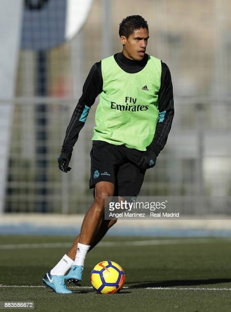 Raphael Varane of Real Madrid in action during a training session at Valdebebas training ground on December 1 2017 in Madrid Spain