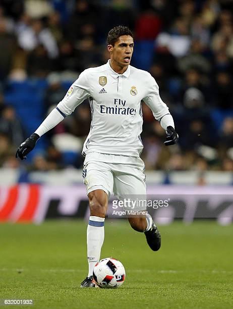 Raphael Varane of Real Madrid in action during the Copa del Rey quarterfinal first leg match between Real Madrid CF and Celta de Vigo at Estadio...