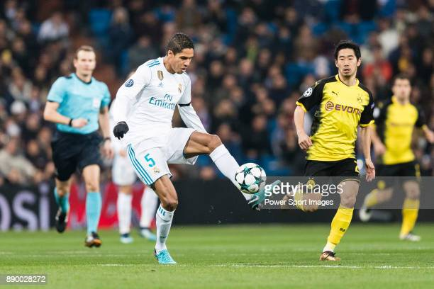 Raphael Varane of Real Madrid in action during the Europe Champions League 201718 match between Real Madrid and Borussia Dortmund at Santiago...