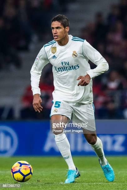 Raphael Varane of Real Madrid in action during the La Liga 201718 match between Atletico de Madrid and Real Madrid at Wanda Metropolitano on November...