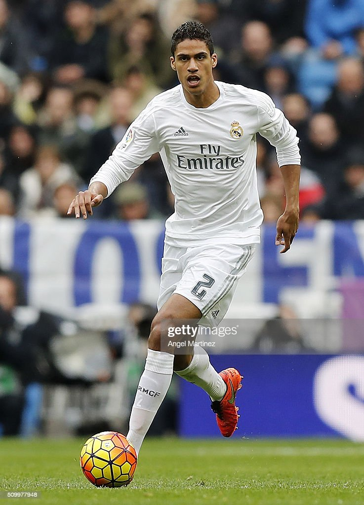 <a gi-track='captionPersonalityLinkClicked' href=/galleries/search?phrase=Raphael+Varane&family=editorial&specificpeople=7365948 ng-click='$event.stopPropagation()'>Raphael Varane</a> of Real Madrid in action during the La Liga match between Real Madrid CF and Athletic Club at Estadio Santiago Bernabeu on February 13, 2016 in Madrid, Spain.