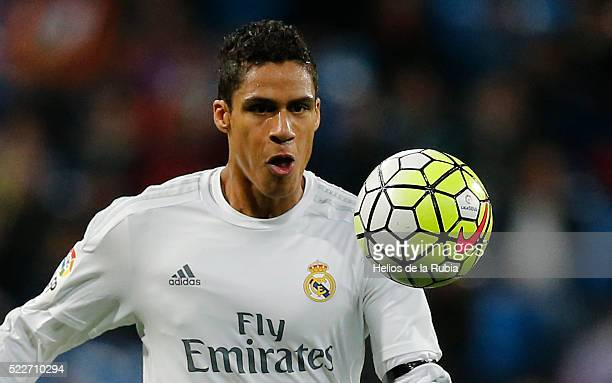 Raphael Varane of Real Madrid in action during the La Liga match between Real Madrid CF and Villarreal CF at Estadio Santiago Bernabeu on April 20...