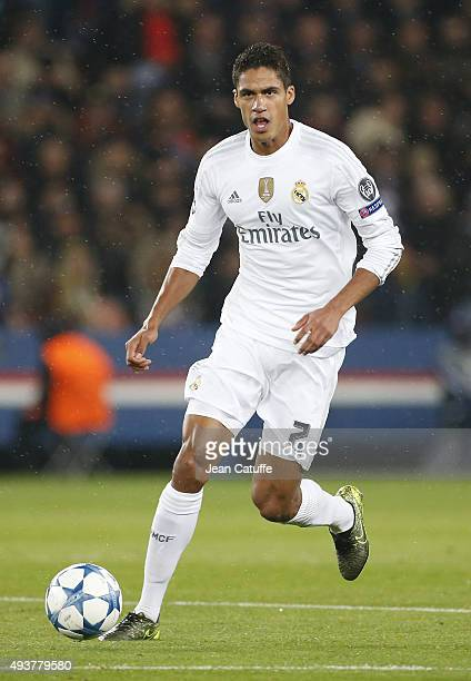 Raphael Varane of Real Madrid in action during the UEFA Champions League match between Paris SaintGermain and Real Madrid at Parc des Princes stadium...