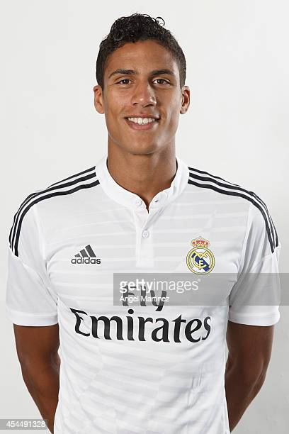 Raphael Varane of Real Madrid poses during a portrait session at Valdebebas training ground on September 1 2014 in Madrid Spain