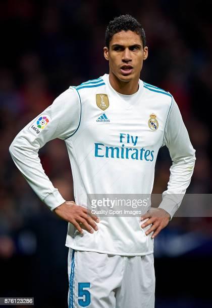 Raphael Varane of Real Madrid reacts during the La Liga match between Atletico Madrid and Real Madrid at Wanda Metropolitano Stadium on November 18...