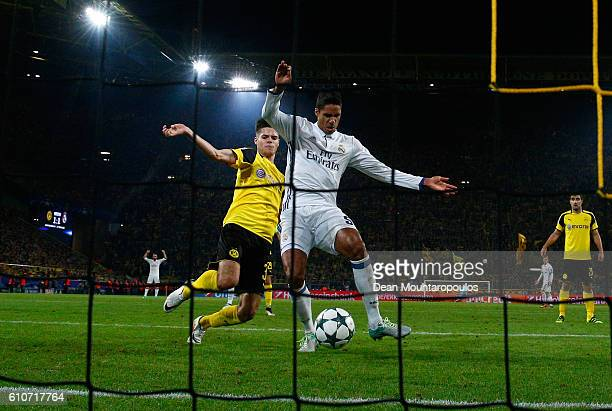 Raphael Varane of Real Madrid scores their second goal during the UEFA Champions League Group F match between Borussia Dortmund and Real Madrid CF at...