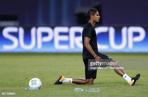 Raphael Varane of Real Madrid stretches during a training session at Philip II Arena on August 7 2017 in Skopje Macedonia