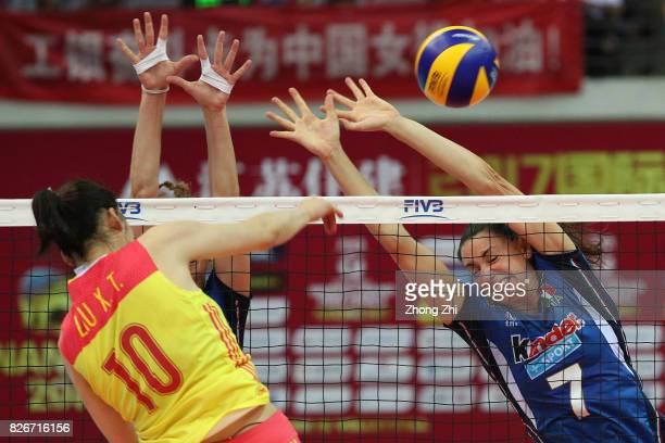 Raphaela Folie of Italy in action during the semi final match between China and Italy during 2017 Nanjing FIVB World Grand Prix Finals on August 5...