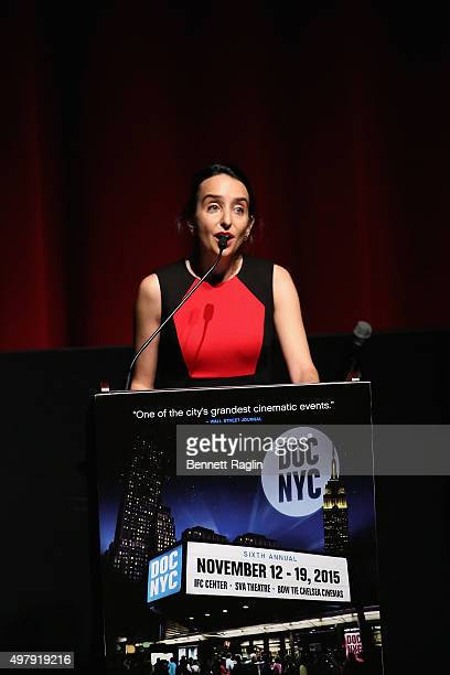 Raphaela Neihausen speaks onstage at AOL's MAKERS Once And For All Premiere at the DOC NYC on November 19 2015 in New York City