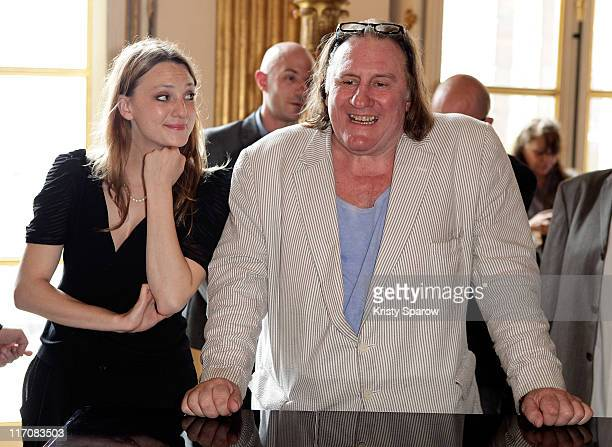 Raphaele Lannadere and Gerard Depardieu attend the second 'Prix Barbara' award ceremony at the Ministere de la Culture on June 21 2011 in Paris France