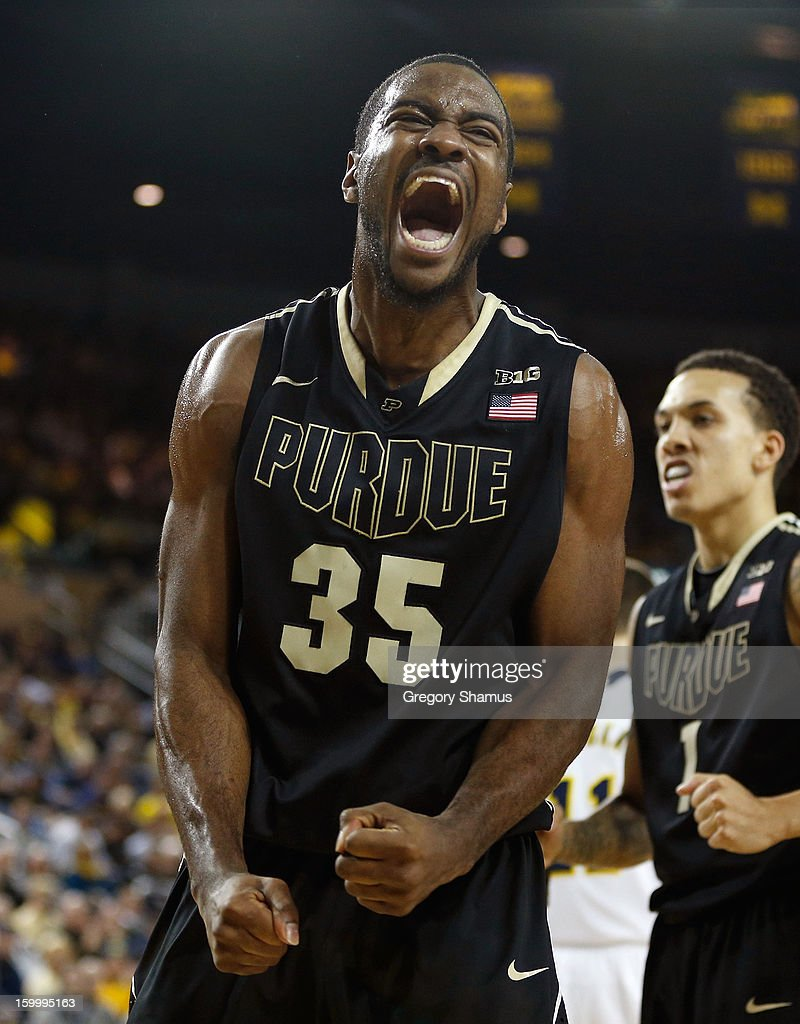 Rapheal Davis of the Purdue Boilermakers reacts after a second half basket while playing the Michigan Wolverines at Crisler Center on January 24 2013...