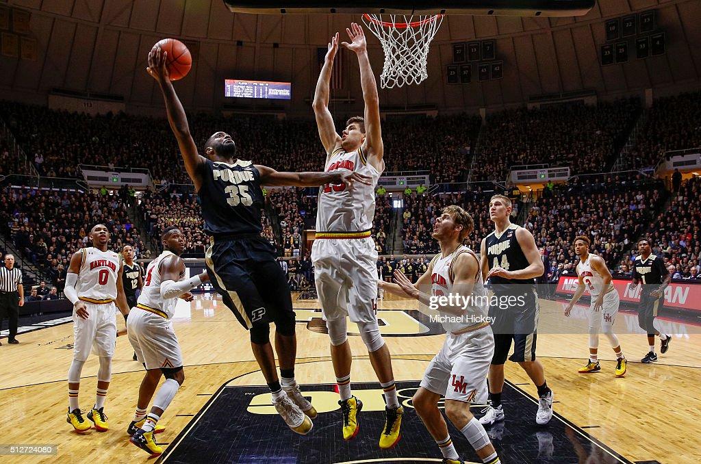 Rapheal Davis #35 of the Purdue Boilermakers shoots the ball against <a gi-track='captionPersonalityLinkClicked' href=/galleries/search?phrase=Jake+Layman&family=editorial&specificpeople=9973489 ng-click='$event.stopPropagation()'>Jake Layman</a> #10 of the Maryland Terrapins at Mackey Arena on February 27, 2016 in West Lafayette, Indiana.