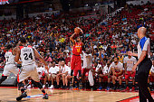 Raphiael Putney of the Cleveland Cavaliers shoots the ball against the Chicago Bulls during the 2016 NBA Las Vegas Summer League game on July 17 2016...